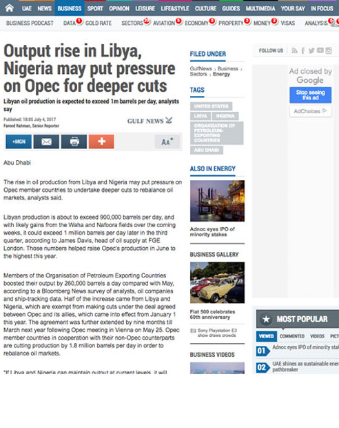 Output rise in Libya, Nigeria may put pressure on Opec for deeper cuts