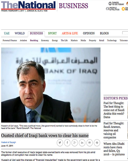 Ousted chief of Iraqi bank vows to clear his name