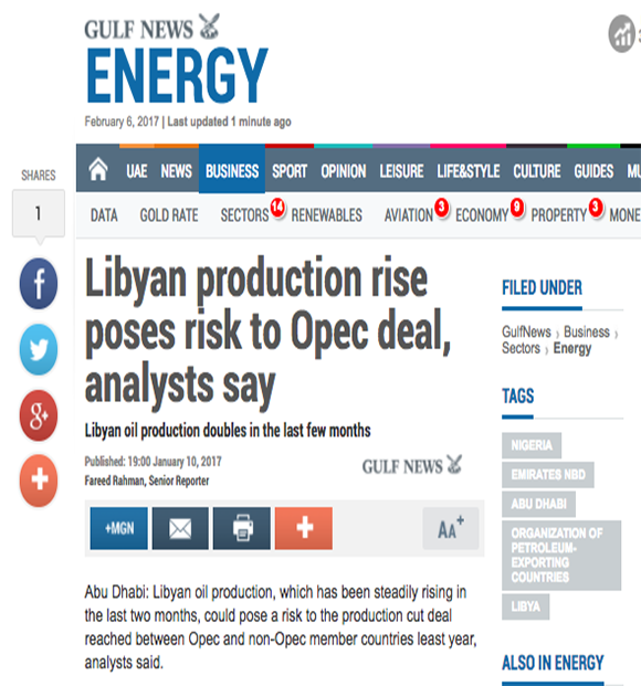 Libyan production rise poses risk to Opec deal, analysts say