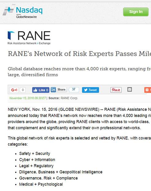 RANE's Network of Risk Experts Passes Milestone