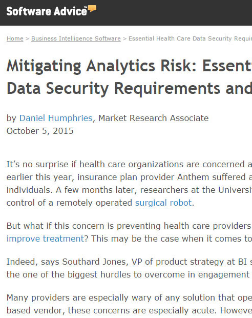 Mitigating Analytics Risk: Essential Health Care Data Security Requirements and Questions